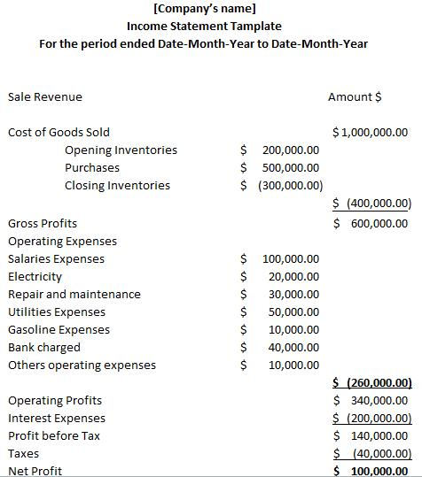 Example Of Income Statement  Wiki Accounting